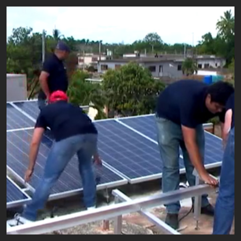 Solar panels in the Radio Jaruco of Cuba